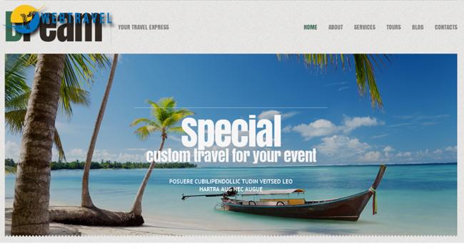 Bố cục header website du lịch