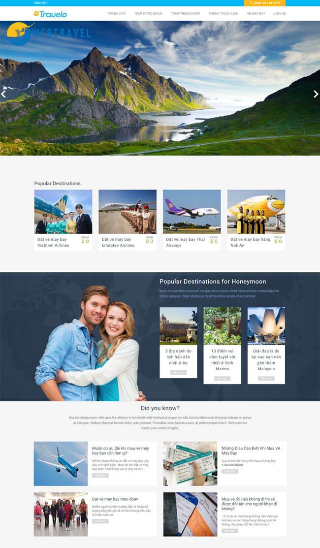 Mẫu giao diện website du lịch đẹp chuyên nghiệp