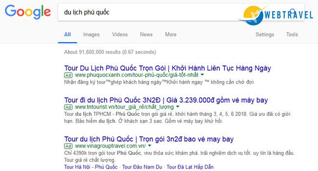 Kinh nghiệm marketing online trong ngành du lịch - google ads